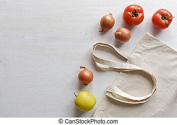 re-usable, verdura, frutta, fresco, borsa