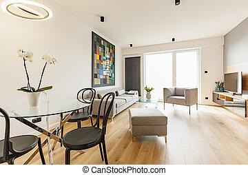 reale, appartamento, armchair., sedie, divano, nero, spazioso, foto, interno, tavola, fiori