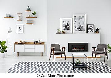 reale, appartamento, foto, grigio, caminetto, nero, spazioso, fra, interno, poltrone, posters.