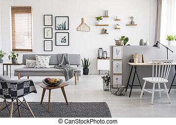 reale, appartamento, foto, scrivania, grigio, sedia, spazioso, sopra, divano, interno, bianco, galleria, finestra.