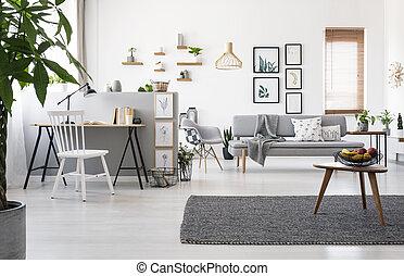 reale, appartamento, legno, foto, grigio, spazioso, workspace, interno, tavola, posters., moquette