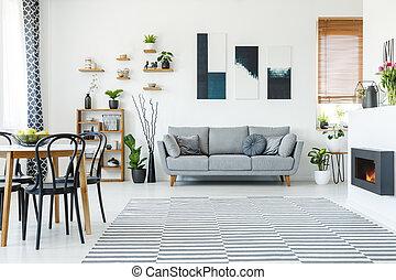 reale, appartamento, sedie, foto, sofa., grigio, nero, spazioso, sopra, tavola, interno, manifesti