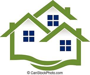 reale, case, logotipo, proprietà, onde