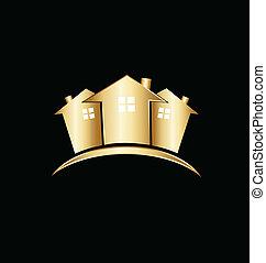 reale, case, proprietà, oro, logotipo