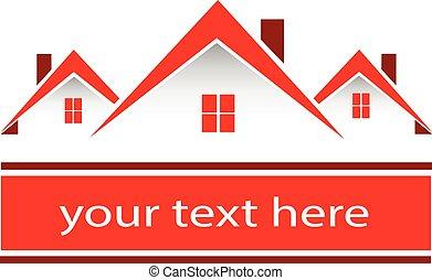 reale, case, proprietà, rosso, logotipo