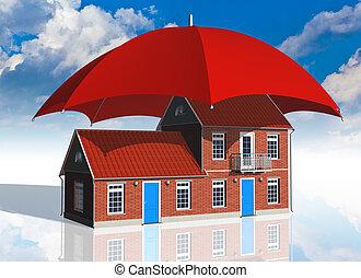 reale, concetto, assicurazione, proprietà
