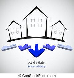 reale, concetto, illustration., proprietà, business., scelta, vettore, tuo, meglio