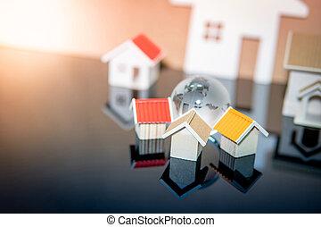 reale, concetto, proprietà, globale, o, proprietà, investimento