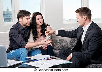 reale, coppia, agente, proprietà, felice