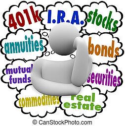 reale, cosa, i.r.a., annuity, proprietà, persona, pensare, sicurezze, proprietà, vincoli, fondi comune investimento, scelte, investire, futuro, 401k, parole, stock, meglio, chiede