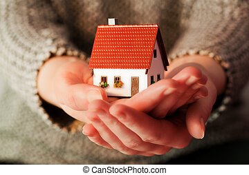 reale, donna, ipoteca, lei, casa, proprietà, presa a terra, piccolo, nuovo, hands.