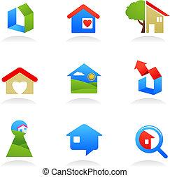 reale, logos, proprietà, /, icone