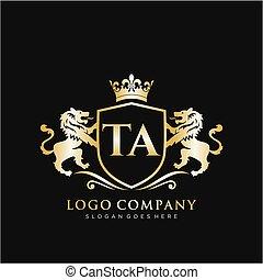 reale, logotipo, template., lettera, iniziale, ta, leone