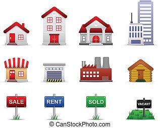 reale, proprietà, proprietà, vettore, icone