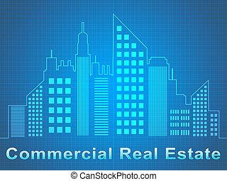 reale, rappresenta, proprietà, commerciale, vendita, illustrazione, uffici, 3d