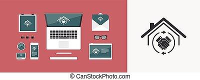 reale, web, comune, casa, estate-, -, accordo, vettore, icona