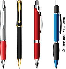 realistico, ballpoint, set, penna