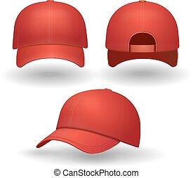 realistico, baseball, set., berretto rosso