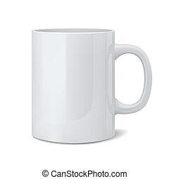 realistico, bianco, classico, tazza