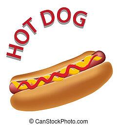 realistico, caldo, vettore, cane, illustrazione