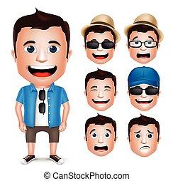 realistico, carattere, turista, uomo, 3d