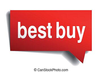 realistico, carta, bolla, isolato, meglio, comprare, rosso, discorso, 3d, bianco