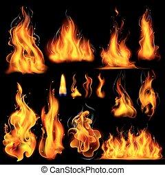 realistico, fiamma, fuoco, urente