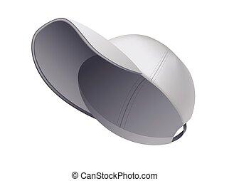 realistico, fronte, sagoma, vista., berretto, grigio, vuoto, isolato, hat., vuoto, cap., mockup, sport, uniforme, fondo., bianco, baseball