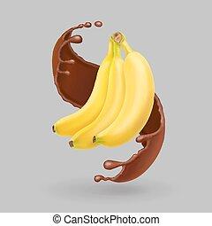 realistico, frutta, banana, splash., cioccolato