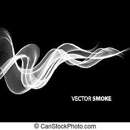 realistico, fumo nero, fondo, vettore