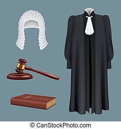 realistico, giustizia, collezione, accusatore, giurisdizione ordinaria, giudice, simboli, martelletto, illustrazioni, diritti, cravatta, martello, equipment., parrucchino, decente, decisione, vettore, accordo