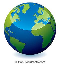 realistico, globo, terra