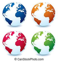 realistico, globo, variazione, terra