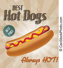 realistico, hot dog, illustrazione