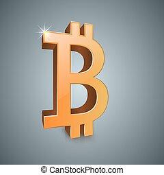 realistico, icon., bitcoin, 3d