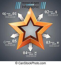 realistico, icon., infographic., affari, 3d