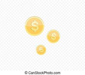 realistico, icon., moneta, oro, 3d