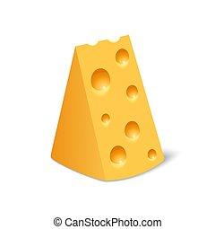 realistico, icona, bianco, stile, isolato, formaggio