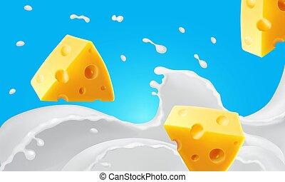 realistico, icona, pezzi, latte, vettore, illustrazione, triangolo, formaggio, gli spruzzi
