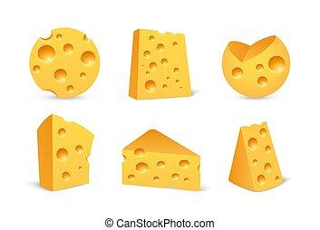 realistico, icona, stile, isolato, set, formaggio