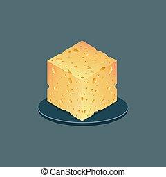 realistico, illustrazione, cheese., fondo., isolato, vettore, pezzo