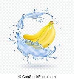 realistico, isolato, illustrazione, banane