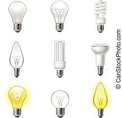 realistico, lightbulbs, set, vario, tipi