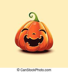 realistico, luce, halloween, isolato, pumpkin., faccia, fondo., vettore, felice, zucca