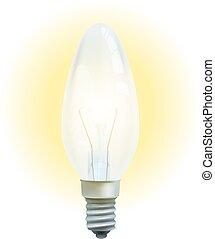 realistico, luminoso, isolato, bulbo, luce, fondo., bianco