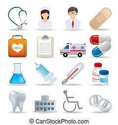 realistico, medico, set, icone