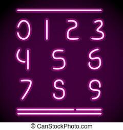 realistico, neon, numeri, alfabeto