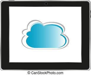 realistico, nuvola, computer, fondo, tavoletta