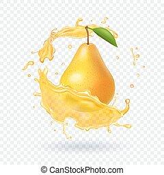 realistico, pera, illustrazione, succo, frutta, fresco, icona