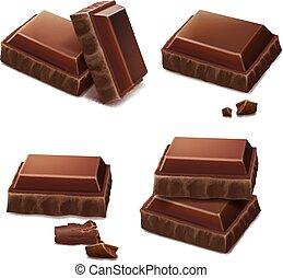 realistico, pezzi cioccolata, illustrazione, icona